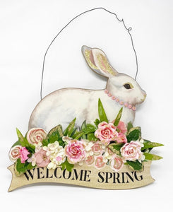 Welcome Spring Bunny Wooden Wreath - Lemon And Lavender Toronto