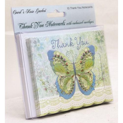 Whimsical Blue Butterfly - 10 pk Thank You Cards - Lemon And Lavender Toronto