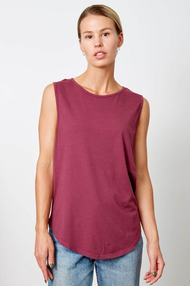 beet red scoop neck, relaxed fit tank top