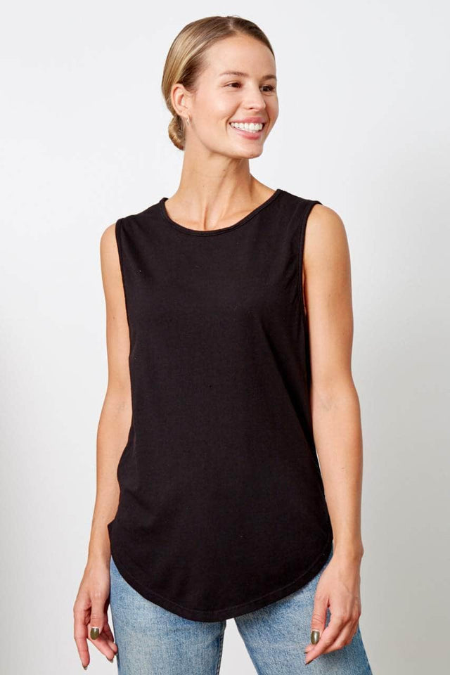 black scoop neck, relaxed fit tank top