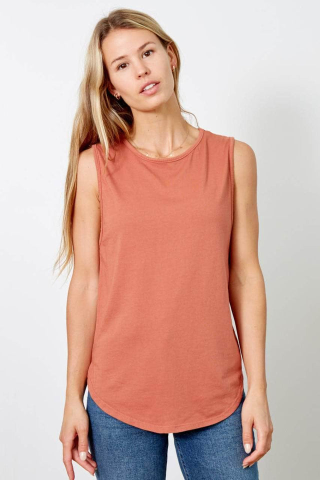 burnt-orange scoop neck, relaxed fit tank top