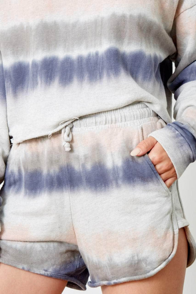 blue. pink, grey, stripe tie-dye cropped hoodie and short set