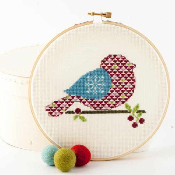 Winter Bird Cross Stitch Pattern - Digital Download