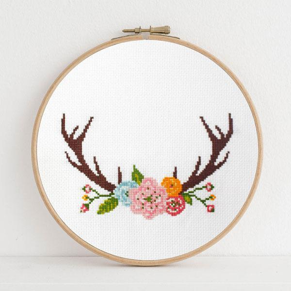 Antlers Cross Stitch Pattern - Digital Download