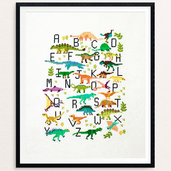 Dinosaur Alphabet Cross Stitch Pattern - Digital Download