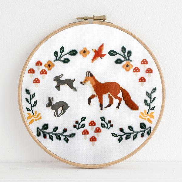 Fox and Rabbits Cross Stitch Pattern - Digital Download