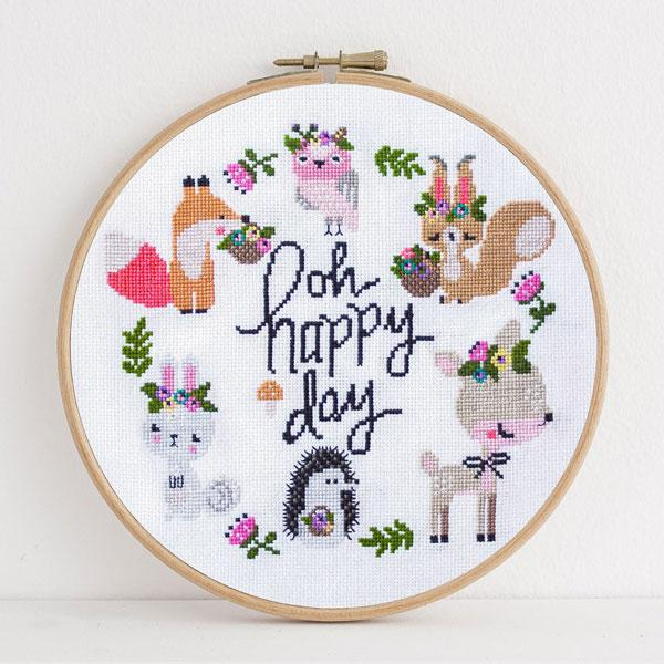 Happy Woodland Cross Stitch Pattern - Digital Download
