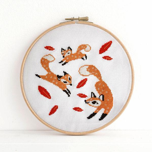 Frolicking Foxes Cross Stitch Pattern - Digital Download
