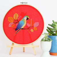 Blue Parrot Cross Stitch Pattern - Digital Download