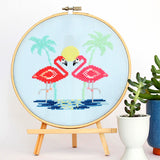 Miami Pink Flamingos Cross Stitch Pattern - Digital Download