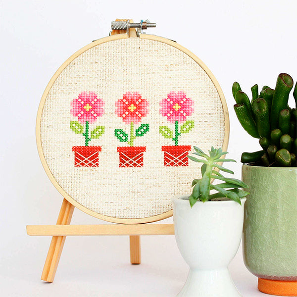 Potted Flowers Cross Stitch Pattern - Digital Download