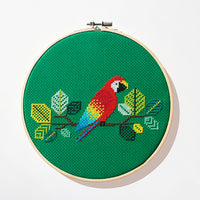 Red Parrot Cross Stitch Pattern - Digital Download