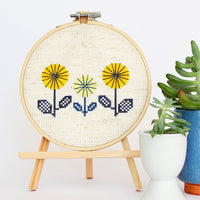 Yellow Spring Flowers Cross Stitch Pattern - Digital Download