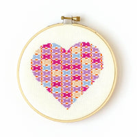 Patchwork Heart Cross Stitch Pattern - Digital Download