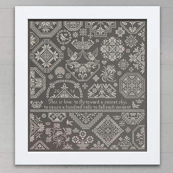A Secret Sky Quaker Sampler Cross Stitch Pattern - Digital Download