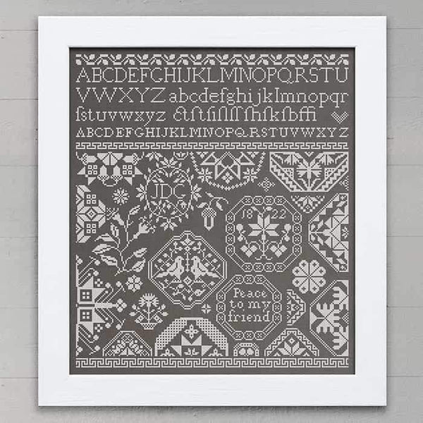 Peace to My Friend Quaker Sampler Cross Stitch Pattern - Digital Download