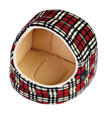 Hooded Cat Bed from Gorpets Large Argyll (red check)