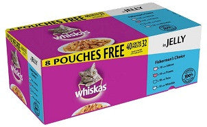 WISH LIST Whiskas Pouch Jelly Fisherman's Choice 40x100g ( 40 for the price of 32 ) ( sorry, this product for LCR only )