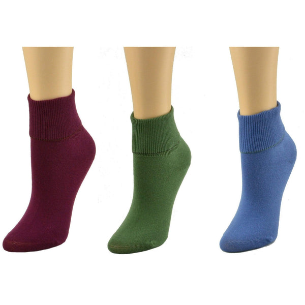 COMES IN 3 PR PACK: WHITE, NAVY, BLACK, ASSORTED Compression & Diabetic 8 / A1 (Wine/Blue/Green) Women's Diabetic 100% Combed Cotton Ankle Turn Cuff 3 Pair Pack W16421