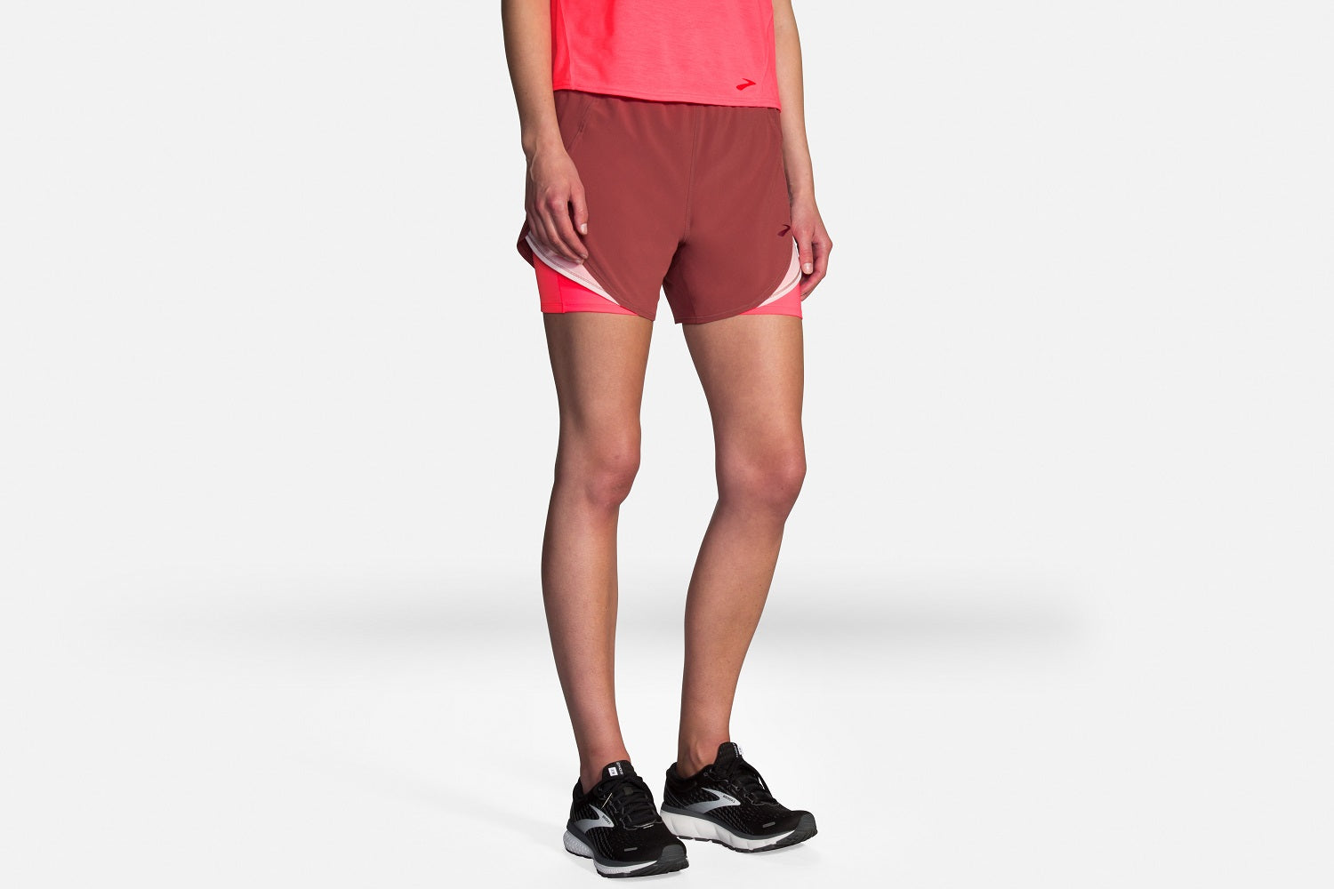 BROOKS-Chaser-2in1-Short-abbigliamento-da-running-donna-rosa