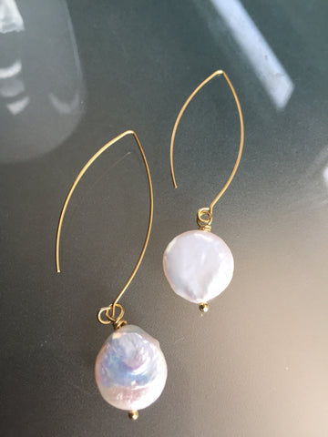 Freshwater Coin Pearl Earrings - White