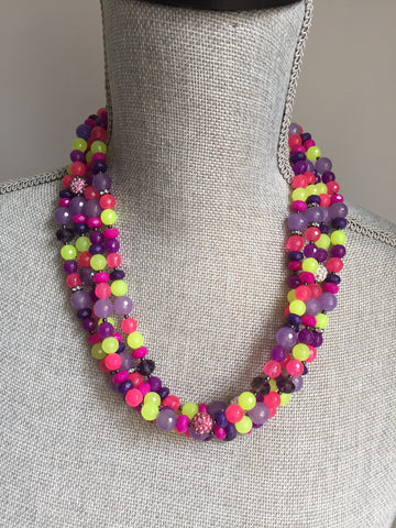 Confetti Necklace- Four Strand Gemstone Statement Necklace