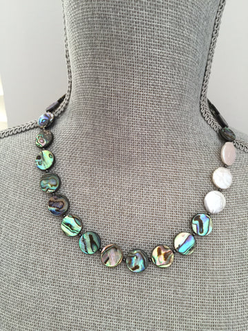 Aurelia Necklace - Abalone & Freshwater Pearl Statement Necklace - Circle Edition
