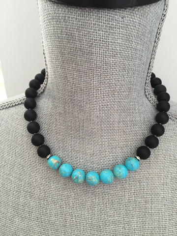 Aliya Necklace - Matte Black Agate & Sea Sediment Jasper Gemstone Statement Necklace