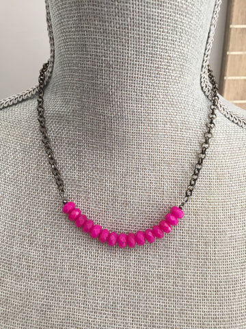 Alora Layering Necklace - Hot Pink Faceted Jade & Gunmetal