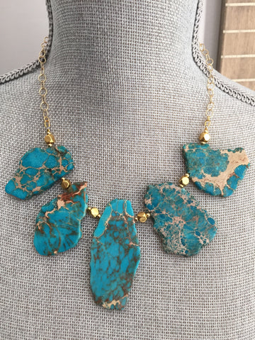 Alexandria Necklace - Gemstone Statement Necklace - Turquoise Edition