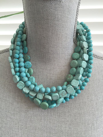 The Queen of Turquoise - Seven Strand Gemstone Statement Necklace - Turquoise Howlite Gemstone