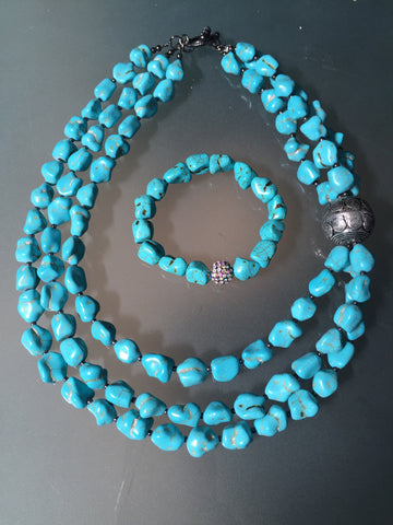 Aveda Necklace - Turquoise Statement Necklace & Bracelet Set