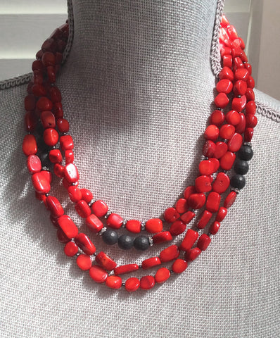 Deidra Necklace - Coral/Matte Brazilian Agate Gemstone Statement Necklace - Four Strand