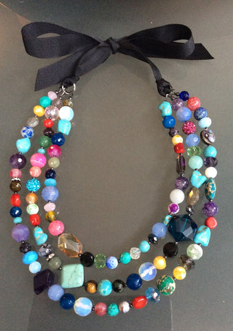 Mardi Gras Necklace - Multi Strand Gemstone
