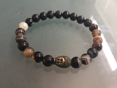 Mens Brown Variagated Agate Statement bracelet - Gemstone Bracelet with an Antique Brass  Buddha - Mens bracelet size
