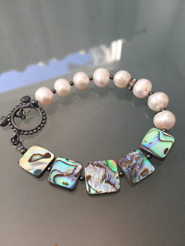 Abalone and White Freshwater Pearl Bracelet - Toggle Clasp Closure - Square Edition