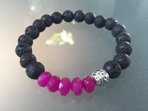 Brielle Stacker Bracelet - Hot Pink Agate