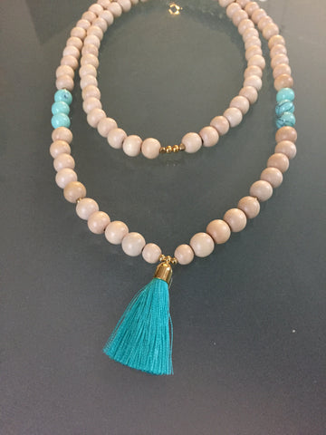 Beautiful Wood/Turquoise Howlite/Tassel Mala Necklace