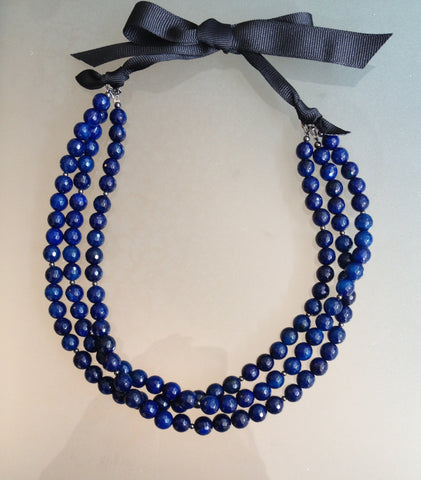 Blue Agate Statement Necklace - Three Strand - Ribbon Clasp Closure