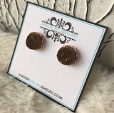 Olivia Earrings - Rose Gold Edition - Agate Druzy Gemstone Studs - Coffee