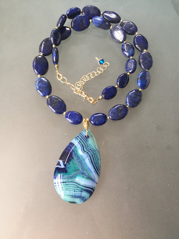Nora Necklace - Blue Agate Pendant Focal