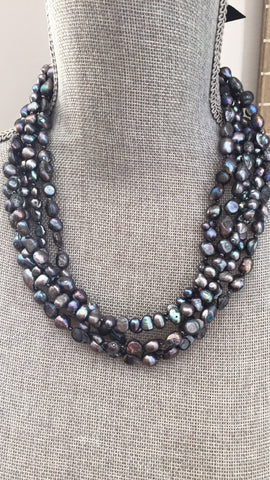 Black / Peacock Freshwater Pearl Multi Strand Statement Necklace - Five strand