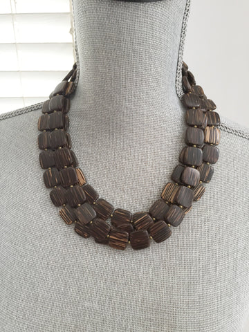 Coconut Palm Necklace - Three Strand Statement Necklace