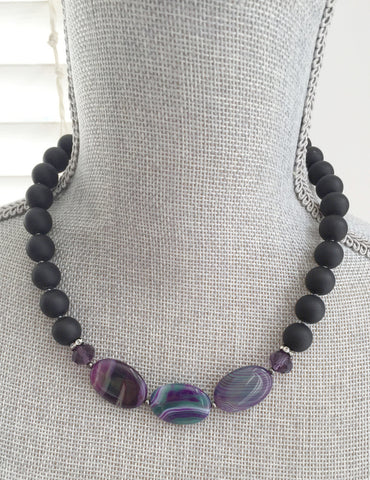 Alexa Necklace - Matte Black & Rainbow Agate Gemstone Statement Necklace