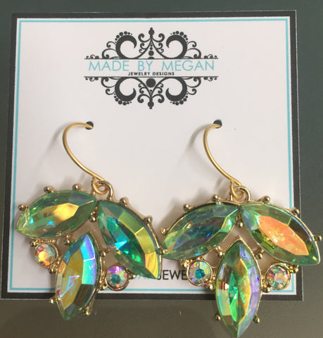 Green Flower Earrings - Gold Plated