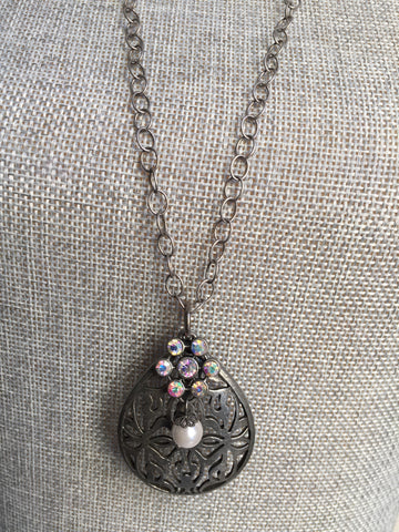 Anna Necklace - Antique Silver Plated Long Layering Necklace