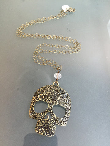 Madre Sugar Skull Necklace - Long Layering