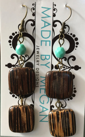 Bamboo and Turquoise Czech Crystal three-tiered Earrings