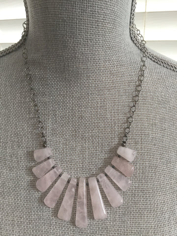 Maya Statement Necklace - Light Pink Quartz Edition