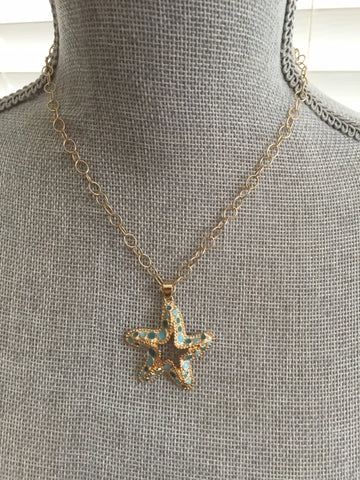 Starfish Necklace - 14k Gold Plated Chain